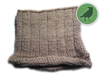 Circle Wool Scarf Beige With Shoulder Slits