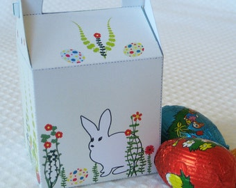 SALE - half price - Little Easter Gift Basket - Favor Box, Treat Box - Printable PDF, Instant Download