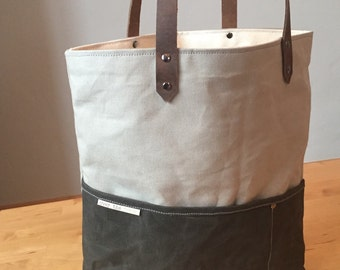 Waxed Canvas Tote---ready to ship!!