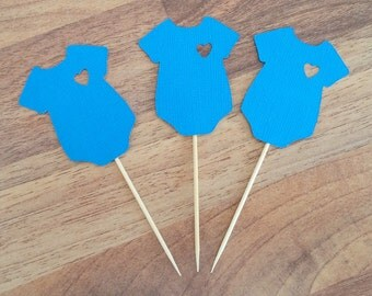 Baby Shower cupcake toppers, 12 Boy Baby cupcake toppers, Onesie cupcake topper, It's a Boy, gender reveal, Boy baby shower, Baby Suit