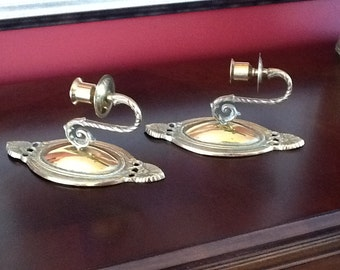Pair of Brass Candle Holder Sconces