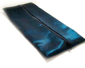 Shot Teal and Black Polyester Satin Flat Makeup or Pencil Case
