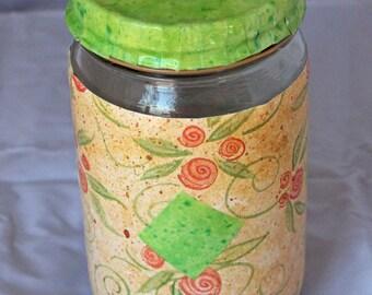 Green Diamond Storage Jar