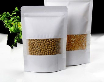 1Pcs3.9''x5.9'' (10x15cm) White Kraft Paper W/ Clear Window Stand Up Pack Bag For Food Nuts Storage Resealable Ziplock Doypack Pouch