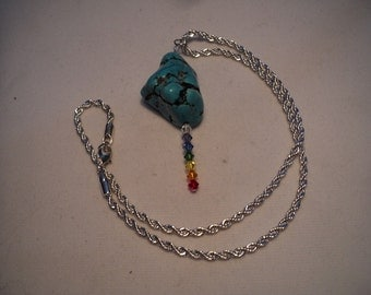 Necklace Turquise Nugget  Swarvski Crystal Chakra on Silver Tone Chain(#397   )