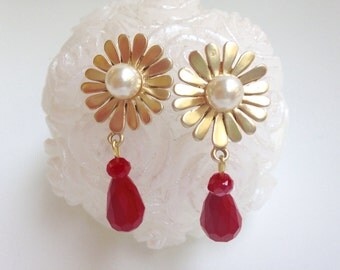 Brass Flower Earrings with Pearl and Red bud pendant earrings flower red