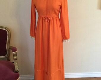 Orange Lorrie Deb lace long dress size 9/10 small