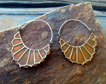 Sterling Silver and Copper Floral Hoop Earrings
