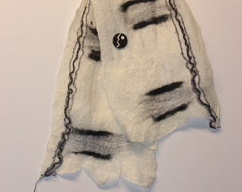 White black n gray wet felted scarf with pin