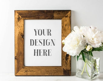 Styled Stock Photography | Vertical Rustic Frame with Peonies | Frame Stock Photo | Digital Image
