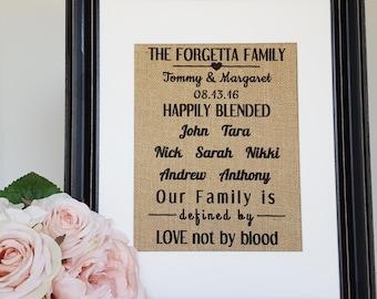 Blended Family Sign - Blended Family - Stepmother Gift - Happily Blended - Step Family Sign - Burlap Family Sign - Blended Family Gift