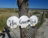 "SALE: Ring bearer/ Flower Girl Wedding Sign, ""Here Comes the Bride"" Scallop Shell & Driftwood Wedding Sign, Beach Wedding Sign"