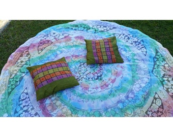 Large tie dyed vintage table cloth