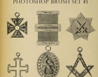 Set of FIVE Photoshop Brushes Clip Art Regalia Mason Symbols Freemason Medals Download