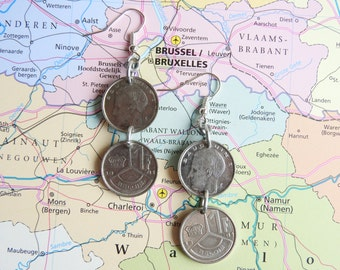 Belgium vintage coin earrings - made of pre-euro coins from Belgium