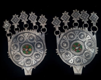 Morocco-Ethnic - Superb Elements for earrings or pendant – silver, enamel and niello with pendants