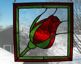 Stained Glass Red Rose Bud Suncatcher