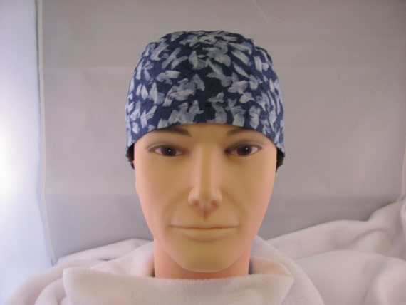 Men's Scrub Hat Blue Brush Strokes