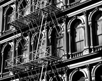 Iconic Balconies -  B&W Photography - NYC Street Scenes