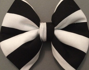 Black & White Stripe Fabric Bow