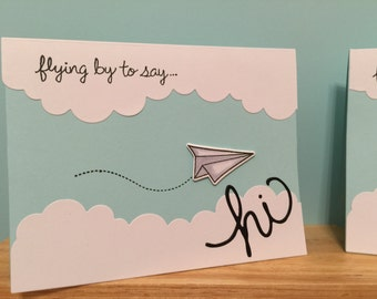 """Flying By to say """"Hi"""" Plane Card!! Perfect for any Occasion!"""