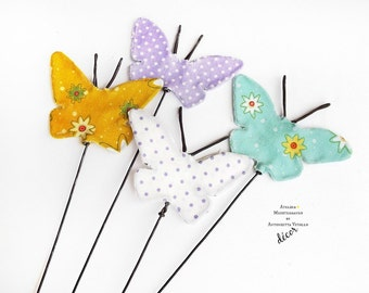 Butterflies Wire Decor Wire Ornaments Metal And Fabric Decoration Four Pieces.