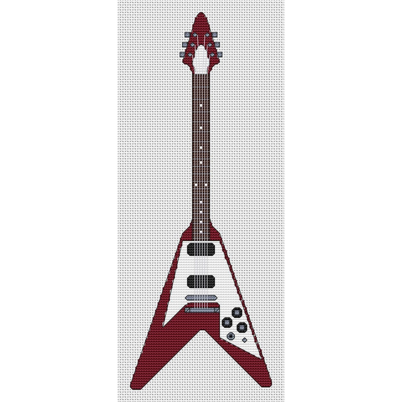 Flying V Guitar Cross Stitch Design By Elite Designs