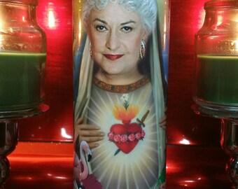 Golden Girls - Dorothy Zbornak - Bea Arthur - Celebrity Saint Prayer Candle in Tropical Frames