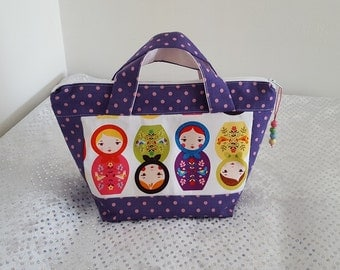 """Kit with handles """"flowers quilted purse Polka"""""""