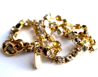 Vintage Signed Monet Delicate Claw Set Tiny Rhinestone Gold Tone Tennis Bracelet Lobster Claw Clasp