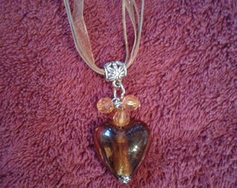 amber heart glass necklace