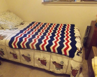 Red White and Blue Ripple Afghan