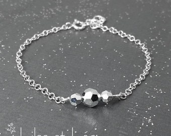Shiny silver Swarovski crystal bar bracelet 2, sterling silver 925