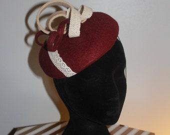 Burgundy and Beige Felt Fascinator