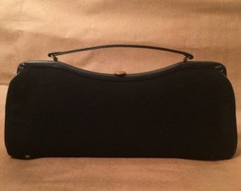 "Mod, Morris Moskowitz ""MM"", Black Wool and Leather, Vintage Handbag"