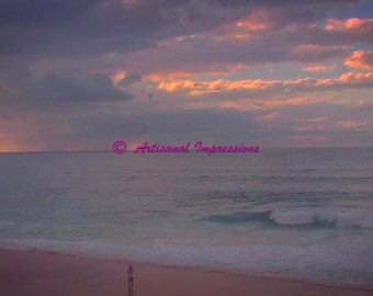 Alone at the Beach, Pink Beach Photo, Large Beach Wall Art, Large Beach Photograph, Beach Fine Art, Alone on Beach, Storm Cloud Photo, Alone