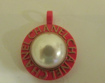 Vintage Chanel charm faux pearly round saucer button charm s pendant red color signed