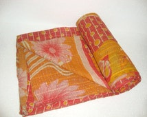 Vintage Light weight Kantha Quilt Reversible Throw Bedspread Bedding E807
