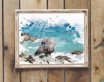 Painted Ocean Photography Printable Wall Art Coastal Decor Beach Decor Instant Download 8x10 11x14 Teen Room Dorm Room Wall Art
