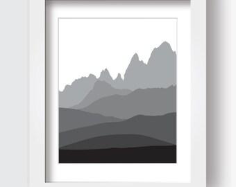 Mountain Print, Mountains Print, Printable, Black and White, Andes Mountains, DIY, Wall Art, Modern, Simple, Stylized, Set, Trio, Wall Art