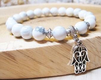 Hamsa Bracelet Howlite Bracelet Good Luck Bracelet Calming Bracelet Healing Bracelet Hamsa Charm Yoga Bracelet Spiritual Bracelet