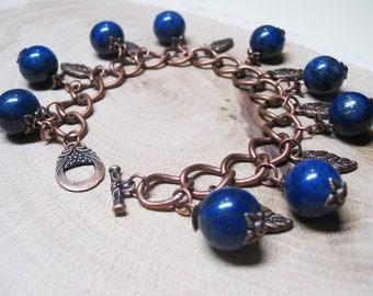 Boho Bracelet Lapis Lazuli Bracelet Beaded Bracelet Charm Bracelet Bohemian Bracelet Romantic Bracelet Women Gift Bracelet Ethnic Bracelet