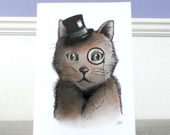 Card Grandpa cat / Illustration / Cat family cardcollection / Funny cat portrait / Blank A6 card