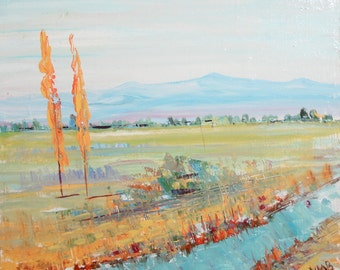Vintage impressionist oil painting field landscape signed