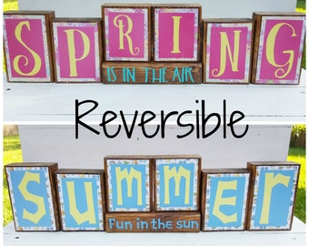 Spring Wooden Blocks - Summer Wooden Blocks - Reversible Wooden Blocks - Spring Decor - Summer Decor - Fun In The Sun - Spring Is In The Air