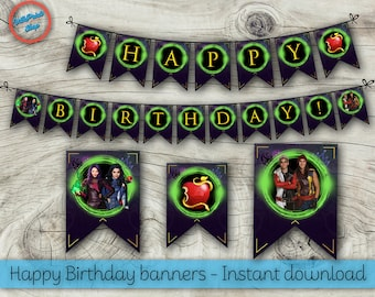 Descendants banners, Descendants Happy Birthday banners, Descendants decorations, Descendants printable banners!