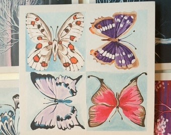 Set of 5 greeting cards: butterflies