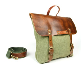 Handcrafted Mensajero messenger (eco leather) // green