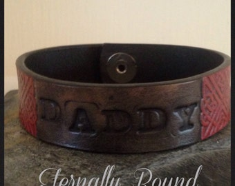 BDSM Daddy Dom,leather bracelet,aged affect finish. Red and black, hand stamped,Daddy, Master