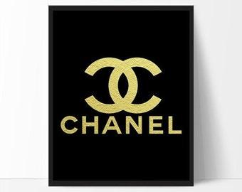 Chanel Logo, Fashion Coco Chanel Print, Gold Foil, Coco Chanel Art, Fashion Print, Wall Art, Girly Room Decor, Gold Wall Art, Black and gold